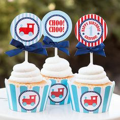 Train Birthday Cupcake Toppers  Toy Train by TangerinePaperShoppe