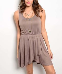 This Forever Lily Mocha Tulip-Hem Racerback Dress by Forever Lily is perfect! #zulilyfinds