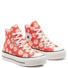 Chuck Taylor All Star Camp Daisies Platform à tige montante pour Femme Rouge/Blanc/Jaune Converse Sneakers, High Top Sneakers, Site Nike, Baskets, Converse Chuck Taylor All Star, Chuck Taylors, High Tops, Platform, Yellow