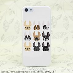 2203T French Bulldog Friends Hard Transparent Cover Case for iphone 4 4s 5 5s 5C SE 6 6s Clear Cell Phone Cases