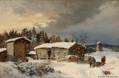 Hjalmar Munsterhjelm House of Tavastia in the winter 1866 - Finland - Finnish horse National Gallery, Painting Snow, Snow And Ice, Winter Snow, Finland, Denmark, Norway, Artsy, Horses