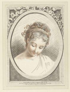 Louis Marin Bonnet   Buste van een jonge vrouw, Louis Marin Bonnet, 1773   Buste van een jonge vrouw, kijkend naar linksonder. In een ovale omlijsting gedecoreerd met bloemen en een lint.