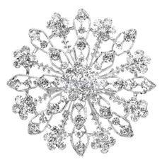 Clear Sparkling Rhinestone Crystal Flower Brooch Pin Bridal Wedding Formal Party #