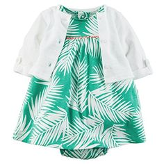 Carters Baby Girls 2 Piece Floral Dress Set Baby 18 Months WhiteGreen -- Read more reviews of the product by visiting the link on the image.