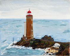 """Купить картина маслом """"Маяк Petit Minou."""" - живопись маслом, маяк, морской пейзаж"""