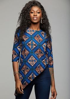 Zulu African Print Asymmetric Tunic (Blue Tan Diamonds)- Clearance - Women's style: Patterns of sustainability Short African Dresses, African Blouses, African Tops, African Shirts, Latest African Fashion Dresses, African Print Dresses, African Print Pants, African Print Clothing, African Print Fashion