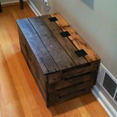 Trunk built from pallets. A tray in the bottom holds our shoes by the kitchen door.