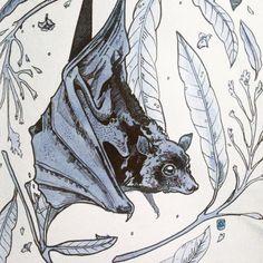 animals, bat, and blue image Blackwork, Cute Bat, Animal Sketches, Gothic Art, Art Inspo, New Art, Art Reference, Amazing Art, Art Drawings
