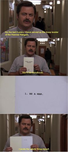 Ron Swanson spells it out. Parks and Recreation !