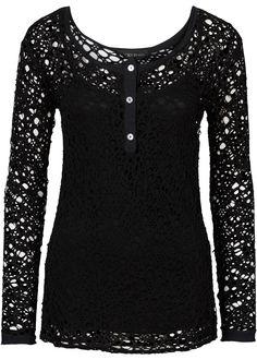 black crochet lace shirt <3
