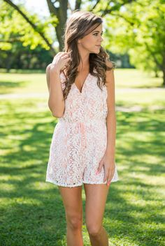 Make My Night Romper, Blush || This romper will make many of your nights!! It's solid ivory crochet overlay looks amazing with that blush background! The crisscross back is fabulous and we love that the straps are adjustable! The elastic waistband also makes this beauty so flattering! This romper seriously will look great on your next date night!