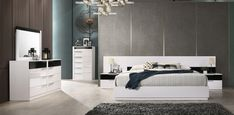 """Best Master Bahamas 3pc Bahamas fenner modern style queen bedroom set with white and black lacquer finish. This set includes the Queen bed, and 2 nightstands. Queen bed measures 116"""" W x 85"""" L x 36"""" H. Nightstand measures 28"""" x 16"""" x 16.5"""" H. Dresser , mirror and chest available separately at additional cost. Some assembly required. Also available in Eastern and Cal. King. Queen Bedroom, Queen Beds, Bedroom Sets, Dresser Mirror, Nightstands, King, Modern, Furniture, Black"""