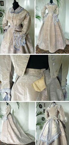 Three-piece dress ca. 1867: bodice, skirt, waistband with bow. Trimmed with fringe, ribbon, and pleated silk applications. Except for the color (cream as opposed to lilac), this dress is identical to the one sold by Time Travelers Antiques, further down the screen. Antique Gown.com via The Wayback Machine