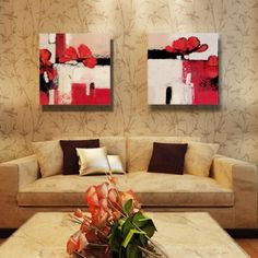 ElleWeiDeco Modern Oil Painting on Canvas Stretched - Red Flowering Item# 1504  - Click image twice for more info - See a larger selection of wall paintings at http://www.zbestsellers.com/level.php?node=106&title=oil-paintings - home, home decor, home ideas, wall decor, oil paintings, gift ideas