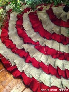 DIY no sew Christmas Tree Skirt Burlap by rosalyn...so many great ideas that I love.  Might have to get a few more trees!!
