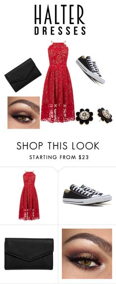 """""""Homecoming"""" by rosewood1133 ❤ liked on Polyvore featuring Warehouse, Converse, LULUS, Kate Spade and halterdresses"""