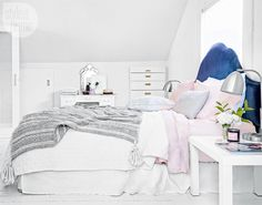 Gray, white, and pink bedroom