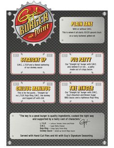 guys burger join Carnival Cruise Menu
