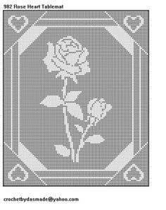 Crochet filet Butterfly doily | 982 Rose Heart Filet Crochet Doily Tablemat Pattern