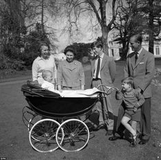 Happy family: Queen Elizabeth with the Duke of Edinburgh and their children: (left to right) Princess Anne, Prince Edward, Prince Charles and Prince Andrew in the Gardens of Frogmore, Windsor