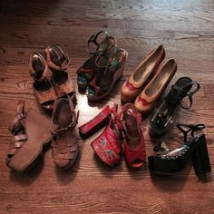 Amazing Vintage 70s Rock & Roll Glam Platform Shoes - 6 Pairs