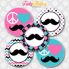 "INSTANT DOWNLOAD Pink & Blue Girl Peace Love Mustache 4x6 Digital 1"" Inch Bottle Cap Image/Digital Collage sheet (2.00 USD) by FMDFunkyMonkeyDesign"