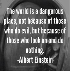 The world is a dangerous place, not because of those who do evil, but because of those who look on and do nothing!