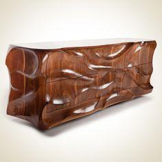 Sideboard ll Caleb Woodard This designer based in Springfield, Tennessee sculpts furniture that blurs the boundaries between form and… Teak Furniture, Woodworking Furniture, Furniture Design, Chest Of Drawers Inspiration, Furniture Inspiration, Chainsaw Wood Carving, Carved Wood Wall Art, Wood Art, Diy Sofa