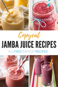 These copycats are quick, easy, and they'll be there for you all year, no matter the craving or the occasion... but we all know they're best when the weather gets hot! Jamba Juice Recipes, Healthy Juice Recipes, Fruit Smoothie Recipes, Cleanse Recipes, Raspberry Juice Recipes, Banana Juice Recipe, Healthy Juices, Health Recipes, Shake Recipes