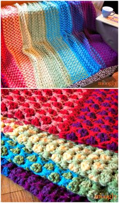 Crochet Moroccan Tile Afghan – Free Rainbow Pattern - 55 Free Crochet Rainbow Patterns / 14 Rainbow Blanket - DIY & Crafts