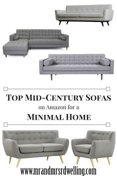 Our Favorite Mid-Century Sofas for a Minimal Look. Gray, Scandinavian styled sofas for the minimalistic home.