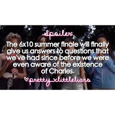 The 6x10 summer finale will give us answers to questions that we've had since before we were even aware of the existence of Charles/Big A.  #pll #prettylittleliars #summerofanswers #WildenisA #WildenisCharles #gameovercharles #lastdance #whoisCharles #whoisA #alisondilaurentis #hannamarin #emilyfields #spencerhastings #ariamontgomery #pllspoilers #plltheories #prettylittleliarsspoilers #prettylittleliarstheories #pll609 #pll6x09 #spoby #ezria #haleb #emison #follow #lucyhale #shaymitchell…
