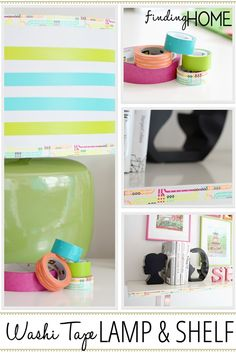 washi tape lamp and shelf