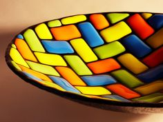 20 cm glass bowl. Spectrum glass fused and slumped.