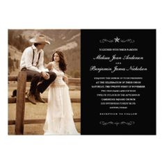 Western Wedding Photo Invitations