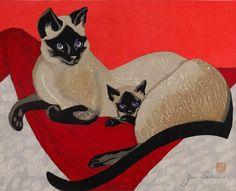 Art by Sekino Jun'ichiro, 1959, Siamese Cat and Kitten,