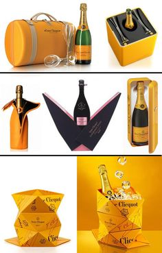 Veuve Clicquot Champagne's packaging designs.