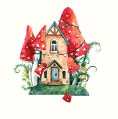 House Illustration, Watercolor Illustration, Watercolor Paintings, Botanical Illustration, Painting Inspiration, Art Inspo, Mushroom Art, Whimsical Art, Cute Drawings