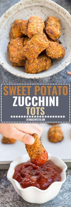 Sweet Potato & Zucchini Tots make the perfect easy & healthy snack. Best of all, they're paleo friendly, gluten free, vegan, and whole 30 compliant. Only a SIX ingredients and kids & adults love them!
