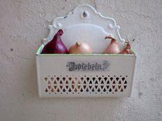 Antique French Enamel ONION Holder  ONION Wall by Decofanatique