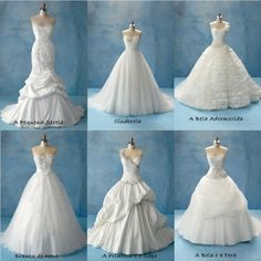 Disney Princess inspired wedding dresses. i like the top of sleeping beauty. all of tiana. ariels is amazing (but not for me). i love belle's. wow. im sad. :)