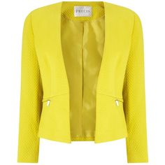 Precis Petite Camila Textured Zip Jacket, Yellow ($50) ❤ liked on Polyvore featuring outerwear, jackets, petite, petite jackets, zip jacket, zipper jacket, yellow jacket and open front jacket