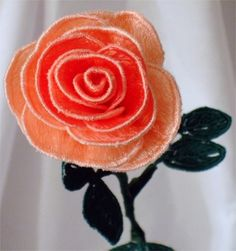 Peach and Coral Rose Embroidered | ForgetMeKnotTreasure - Floral on ArtFire