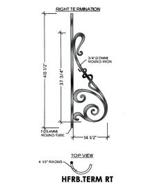 Rebecca Panel Piece Right Termination – HFRB.TERM RT Curved Panel, Fits level balcony or Straight rail 14-1/2″ wide 44″ tall 5/8″ round bar stock This is the Rebecca right termination wrought iron panel made by Regency Railings. It is a curved panel with a 4-1/2″ radius.