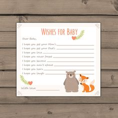 A fun game for your next baby shower! Share your wishes for the baby on the way!  You will receive ready-to-print files! ♥ INSTANT DOWNLOAD,
