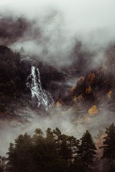 Moody autumn forest in the clouds with waterfall Norway Landscape, Forest Landscape, Abstract Landscape, Forest Photography, Fine Art Photography, Landscape Photography, Travel Photography, Aerial Photography, Forest Waterfall