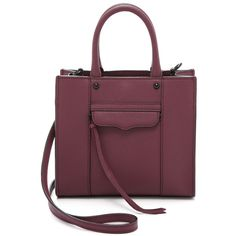 Rebecca Minkoff Mini MAB Tote ($190) ❤ liked on Polyvore featuring bags, handbags, tote bags, port, purple purse, zippered tote bag, mini tote, leather tote bags y leather zip tote