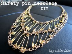 jewelry making is just about creativity.when i saw this awesome safety pin necklace i was so impressed with the designer. Safety Pin Art, Safety Pin Crafts, Safety Pins, Safety Pin Bracelet, Safety Pin Jewelry, Jewelry Crafts, Jewelry Art, Beaded Jewelry, Bijoux Diy