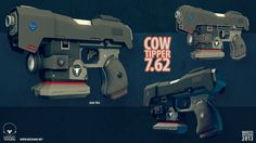 7.62 mm Cowtipper  I came up with this idea for a gun that could fire large 7.62mm bullets. Since there is no real use for such a device I had to come up with one. Hence the Cowtipper. It tips cows. But only very old, lonely and sad cows.  Design, modeling, and texturing by me. Rendered in Marmoset Toolbag.