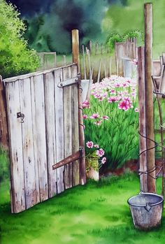 Colorful Paintings, Beautiful Paintings, Watercolor Flowers, Watercolor Paintings, Beautiful Flowers Wallpapers, Nature Drawing, Anime Scenery, Plant Illustration, Building Painting
